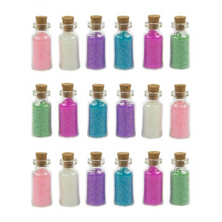 Set of 18 mini bottles with decorative sand (type 2)