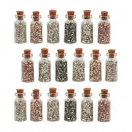 Lot de 18 mini bouteilles avec mini pierres déco (type 3)