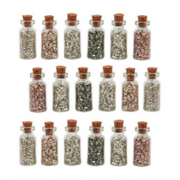 Set of 18 mini bottles with mini decorative stones (type 3)