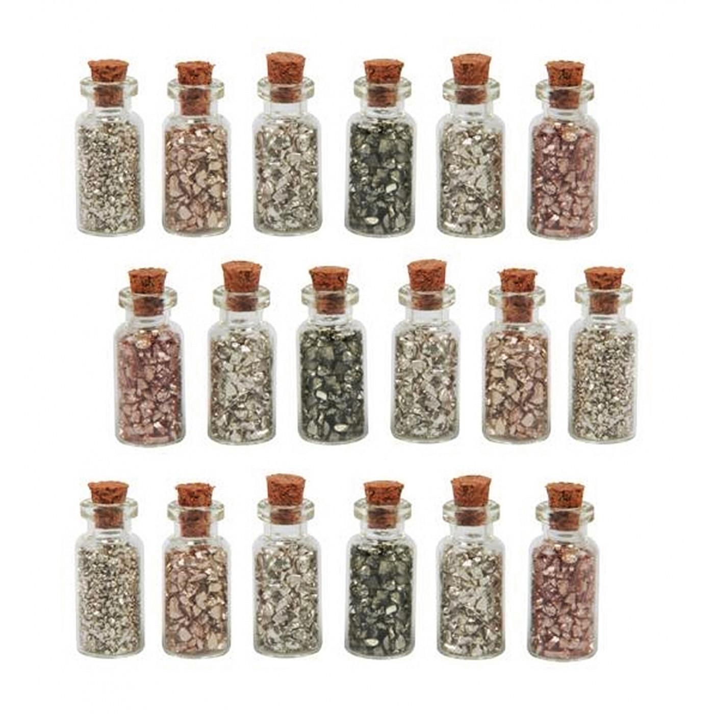 Set mit 18 Mini-Flaschen mit Mini-Dekosteinen (Typ 3)  - 1