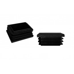Set von 32 kunststoff Stuhlbeinkappen (Innenkappe, Rechteck, 20x50 mm, schwarz) [I-RA-20x50-B]  - 1