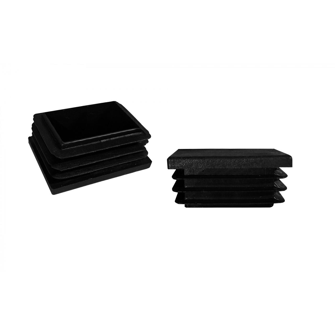 Set von 32 kunststoff Stuhlbeinkappen (Innenkappe, Rechteck, 40x80 mm, schwarz) [I-RA-40x80-B]  - 1