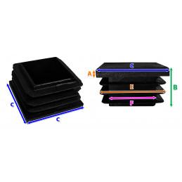 Set van 32 plastic stoelpootdoppen (intern, vierkant, 30-36-38
