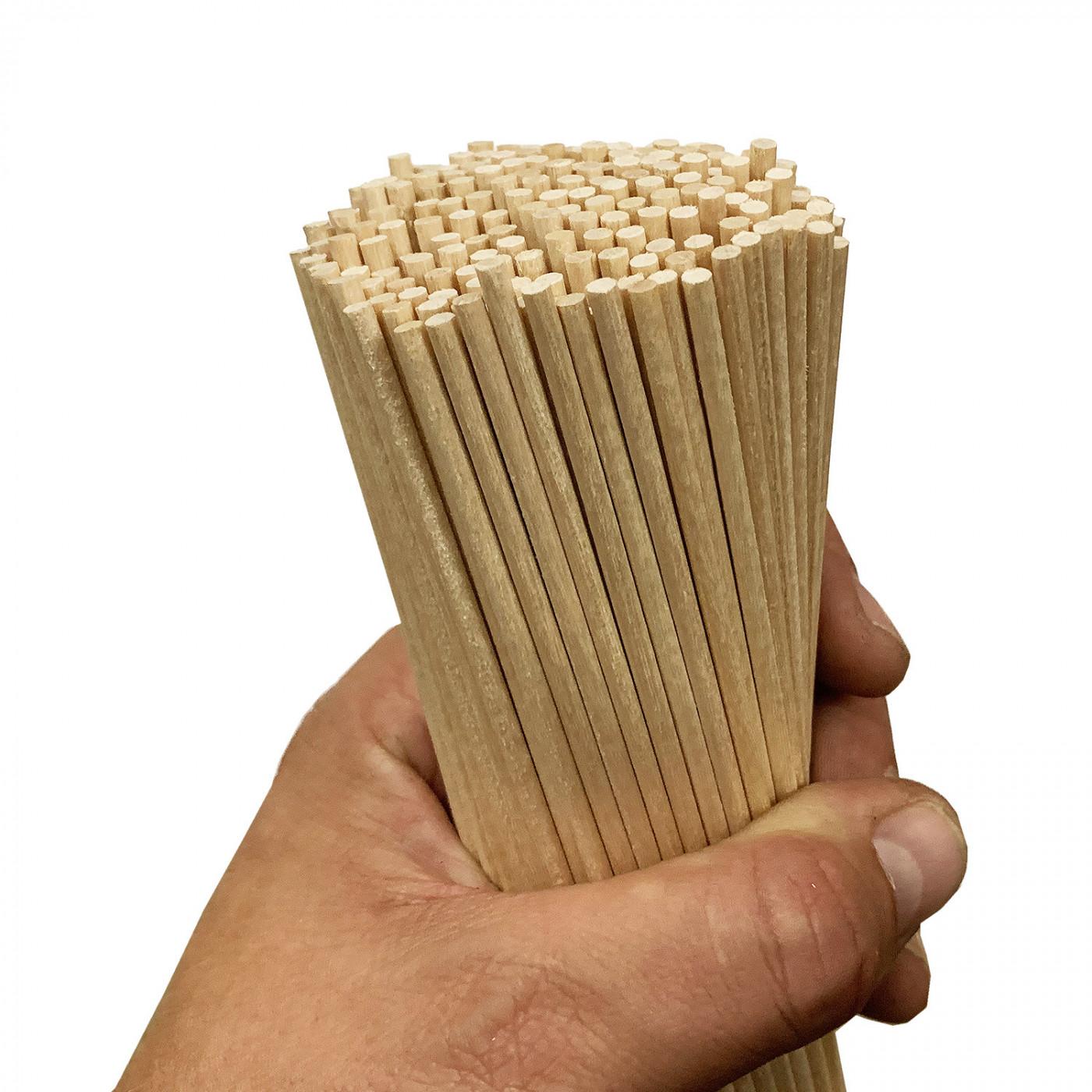 Set of 250 wooden sticks (5 mm x 20 cm, birch wood)