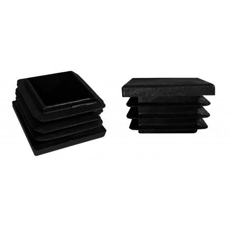 Set von 32 kunststoff Stuhlbeinkappen (Innenkappe, Quadrat, 30x30 mm, schwarz) [I-SQ-30x30-B]  - 1