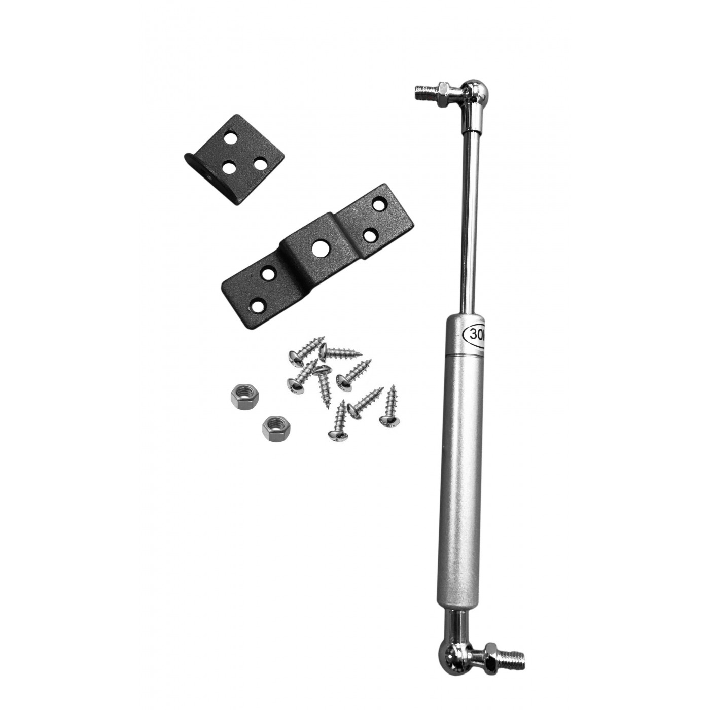Universal gas spring with brackets (300N/30kg, 263 mm, silver)  - 1