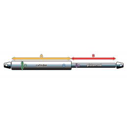 Universelle Gasfeder mit Halterungen (300N/30kg, 263 mm
