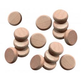 Conjunto de 100 discos de madeira (bordas arredondadas, diâmetro: 2,5 cm, espessura: 8 mm, faia)  - 1