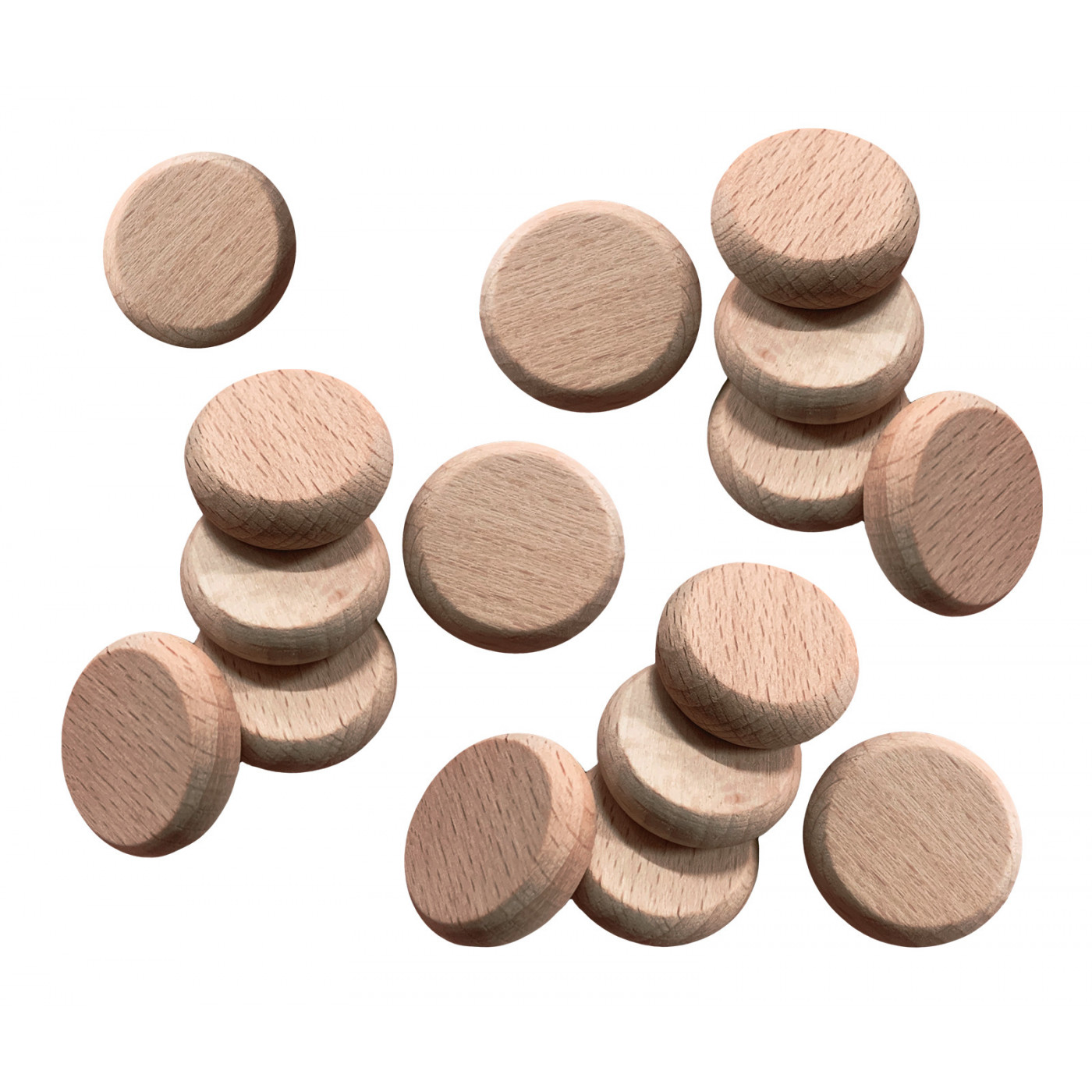 Set of 100 wooden discs (rounded edges, dia: 2.5 cm, thickness: