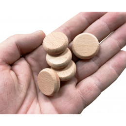 Set of 100 wooden discs (rounded edges, dia: 2.5 cm, thickness: 8 mm, beech)  - 2