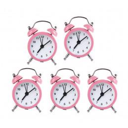 Set van 5 kleine wekkertjes, baby roze (op batterij)