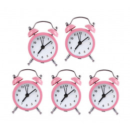 Zestaw 5 śmiesznych małych budzików (różowy, bateria)  - 1
