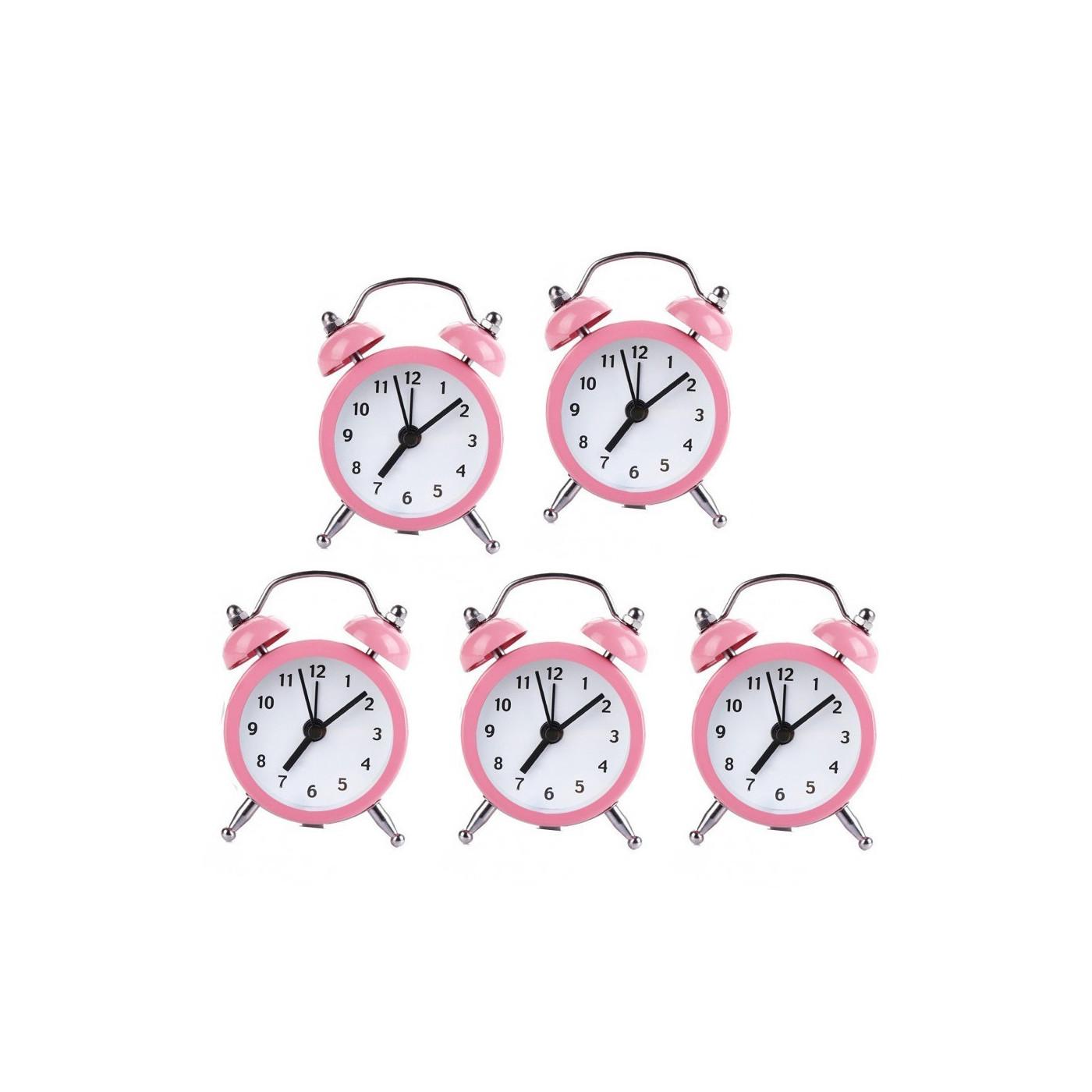 Set of 5 funny little alarm clocks (baby pink, battery)