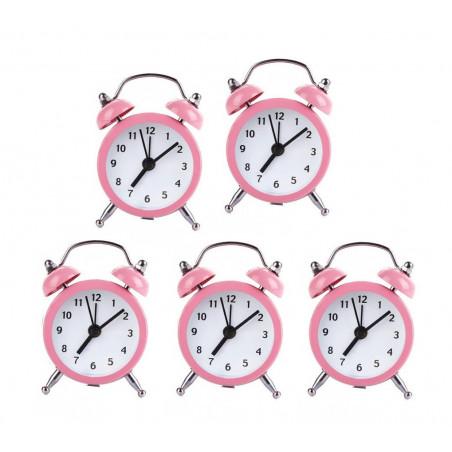 Ensemble de 5 petits réveils rigolos (rose pâle, pile)