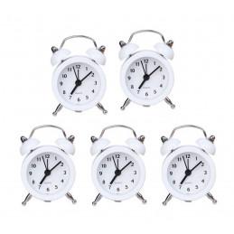 Set di 5 piccole sveglie divertenti (bianche, batteria)