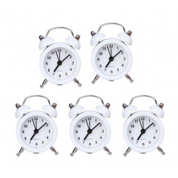 Set of 5 funny little alarm clocks (white, battery)