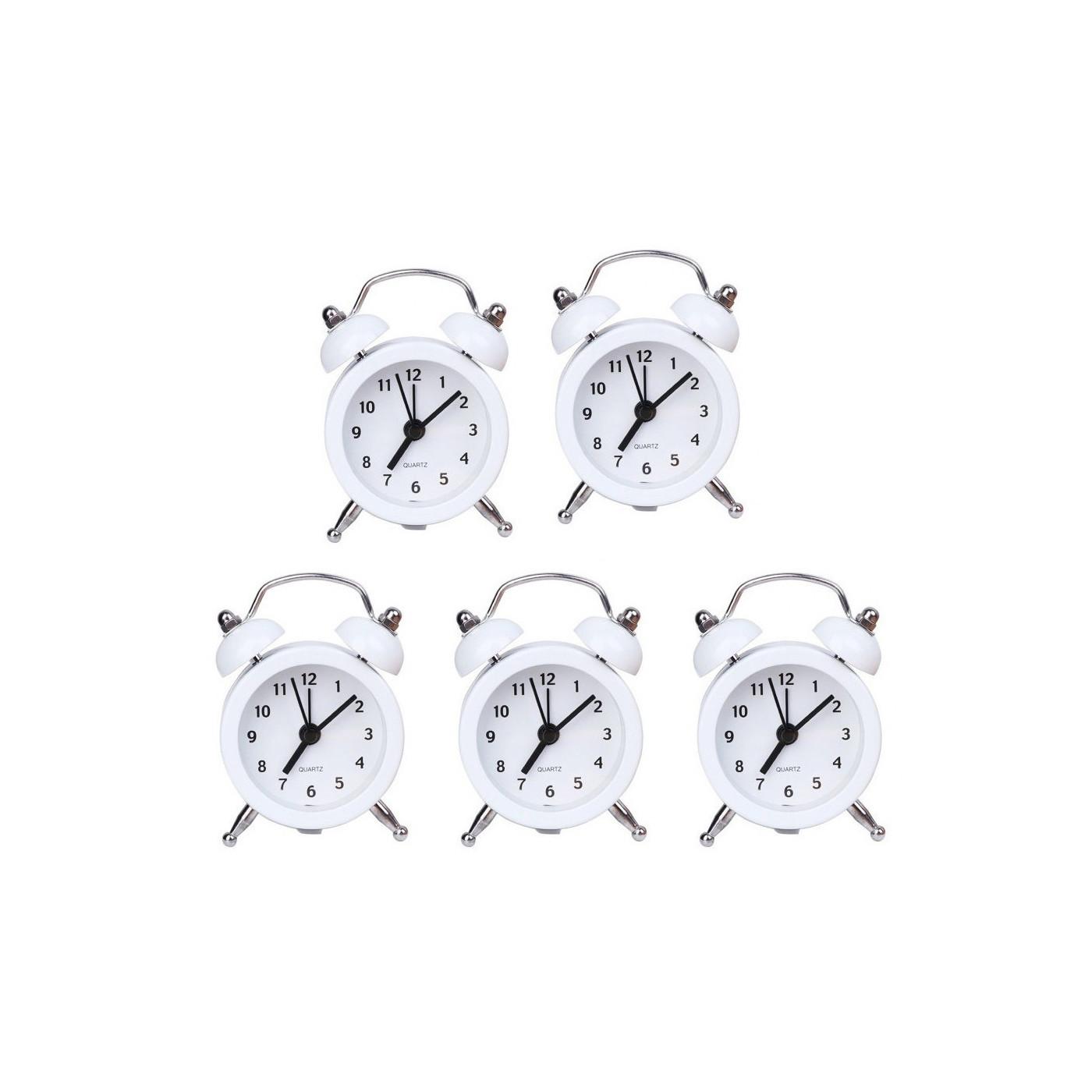 Set of 5 funny little alarm clocks (white, battery)