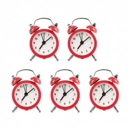 Set di 5 piccole sveglie divertenti (rosse, batteria)