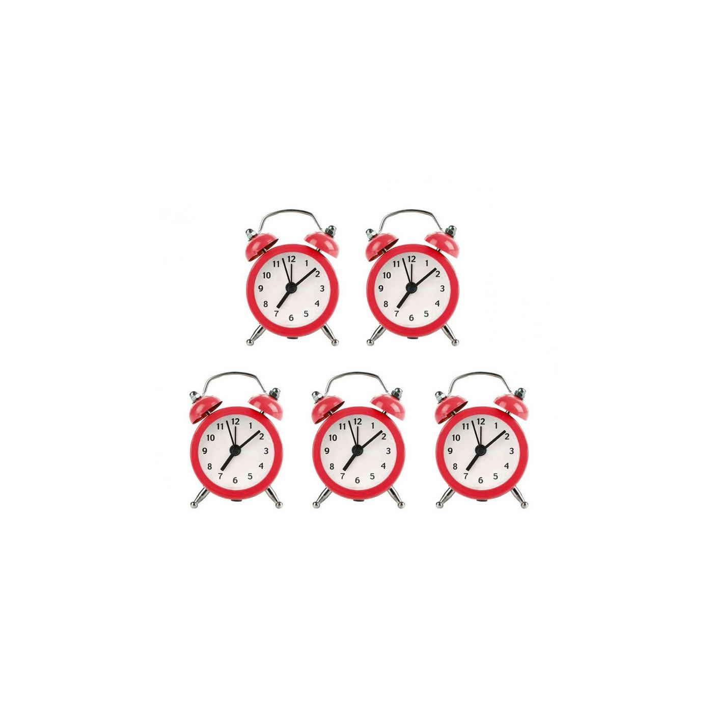 Ensemble de 5 petits réveils rigolos (rouge, pile)