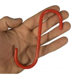 Set di 20 ganci a S in metallo (13 cm, isolati, rossi)