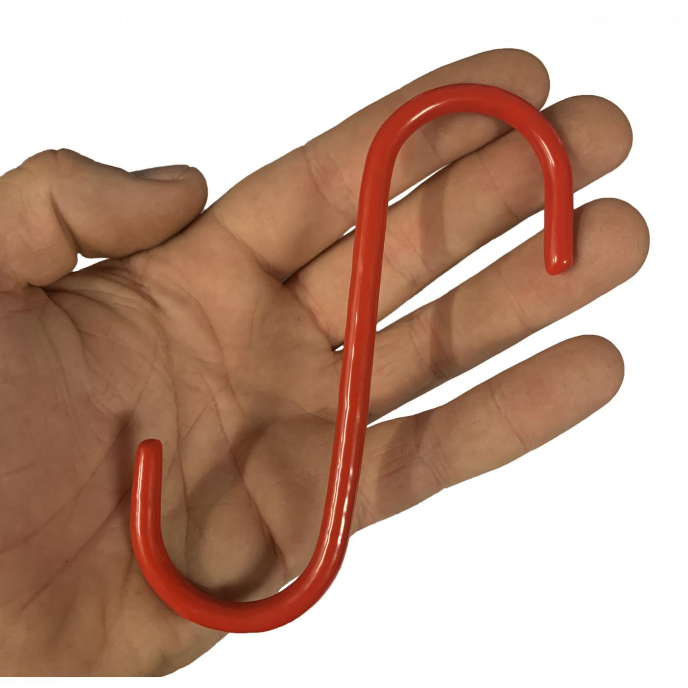 Set van 20 metalen S-haken (13 cm, geïsoleerd, rood)