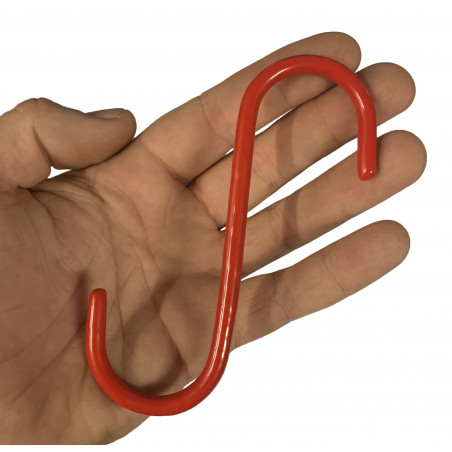 Set of 20 metal S-hooks (13 cm, isolated, red)