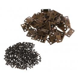 Set van 60 kleine bronzen scharniertjes, 18x16 mm  - 1