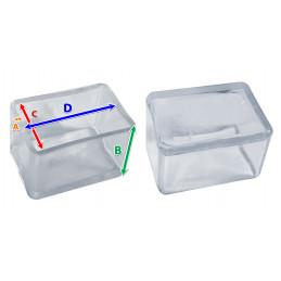 Set von 32 silikonkappen (Außenkappe, Rechteck, 30x50 mm, transparent) [O-RA-30x50-T]  - 2