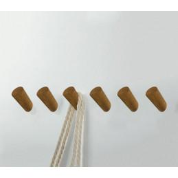 Juego de 6 ganchos para ropa de madera, madera de roble  - 1