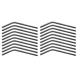 Conjunto de 20 tubos / canudos de aço inoxidável (dobrado, 8 mm de diâmetro)  - 1