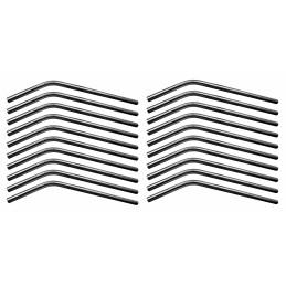 Jeu de 20 tuyaux / pailles en acier inoxydable (courbés, diamètre 8 mm)  - 1