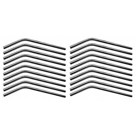 Set of 20 stainless steel pipes/straws (bended, 8 mm diameter)  - 1
