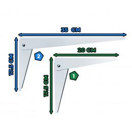 Jeu de 4 équerres de support d'étagère pliables (taille 2:35 cm)