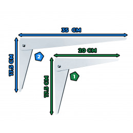 Set van 4 opklapbare beugels (maat 2: 35 cm)