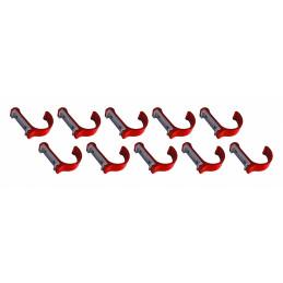 Set van 10 aluminium kledinghaken, kapstokken (gebogen, rood)