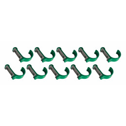 Juego de 10 ganchos de ropa / percheros de aluminio (curvado, verde)  - 1