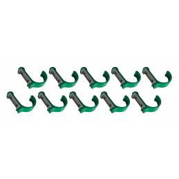 Set van 10 aluminium kledinghaken, kapstokken (gebogen, groen)