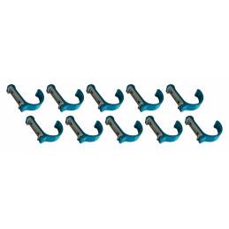 Juego de 10 ganchos de ropa / percheros de aluminio (curvado, azul claro)  - 1