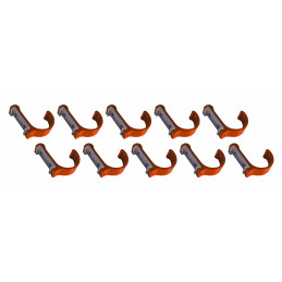 Set of 10 aluminum clothes hooks / coat racks (curved, orange)  - 1