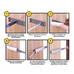 Conjunto de 12 snappers magnéticos para portas de armário  - 2