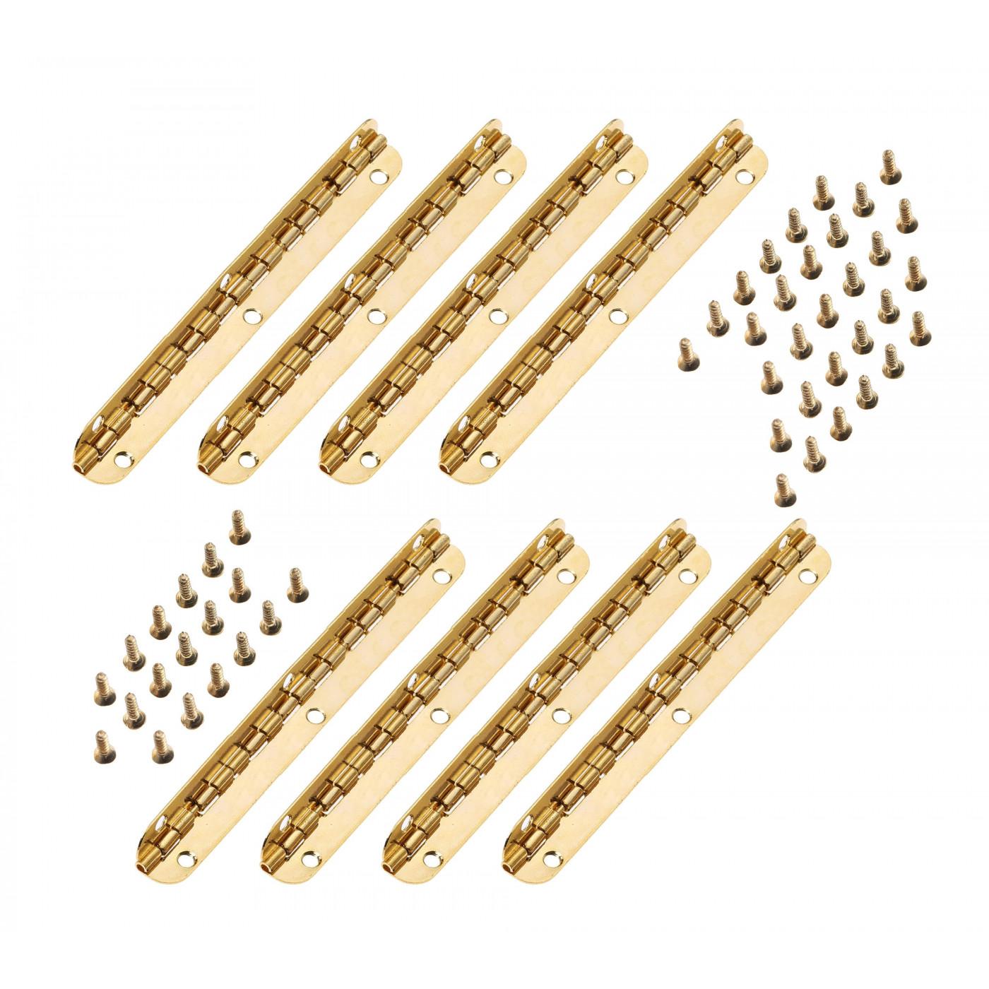 Zestaw 8 zawiasów długich (dł. 11,5 cm złote, rozwarcie maks. 90 stopni)  - 1
