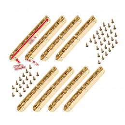 Set van 8 lange scharniertjes, (11,5 cm lang, goud, max 90