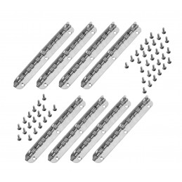 Set of 8 long hinges, (11.5 cm length, silver, max 90 degrees
