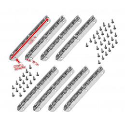 Lot de 8 charnières longues, (longueur 11,5 cm, argent