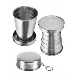 Set of 5 foldable stainless steel cups with fixed coaster (75