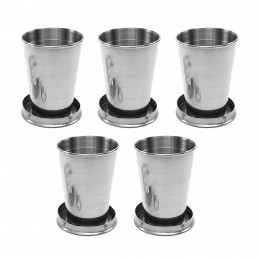 Set of 5 foldable stainless steel cups with fixed coaster (75 ml)  - 1
