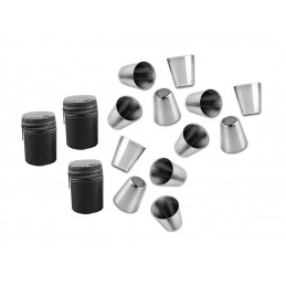 Zestaw 12 kubków ze stali nierdzewnej (30 ml) z 3 skórzanymi