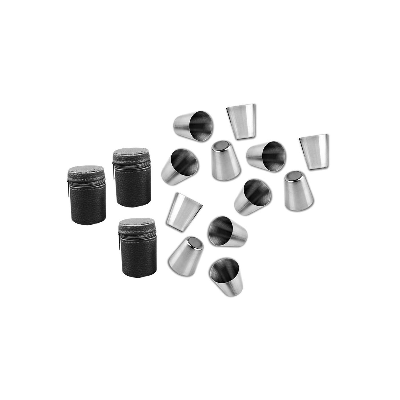 Zestaw 12 kubków ze stali nierdzewnej (30 ml) z 3 skórzanymi torebkami  - 1
