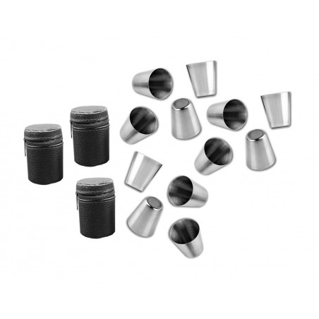 Set of 12 stainless steel cups (30 ml) with 3 leather bags