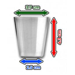 Set van 12 roestvrijstalen bekers (30 ml) met 3 lederen tasjes